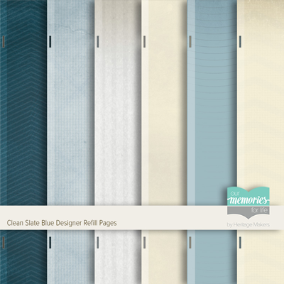 Clean Slate Blue Designer Refill Pages