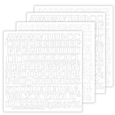 Black Noir White Alphabet Stickers