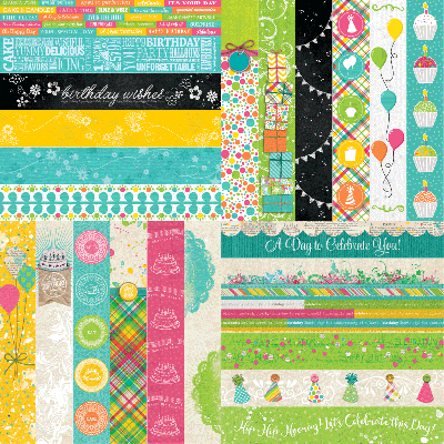 Party Brights by Katie Pertiet Designer Border Strips