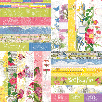"Floral Flourish by Katie Pertiet 2"" Border Strips"