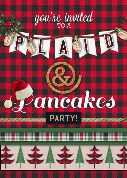 Plaid and Pancakes Party Invite