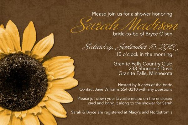 Sunflower Shower Invitation