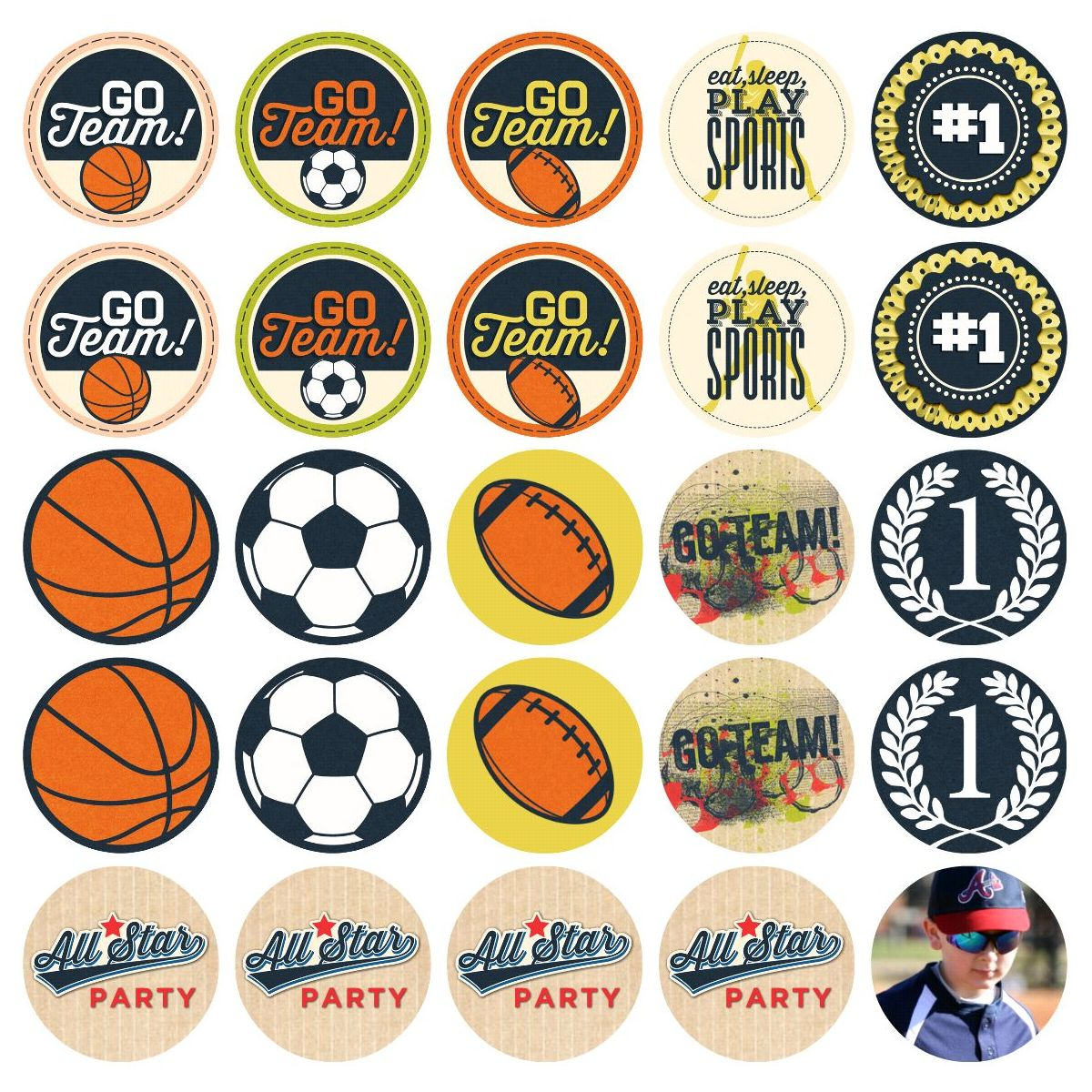 Hm gallery game day cupcake toppers pronofoot35fo Image collections