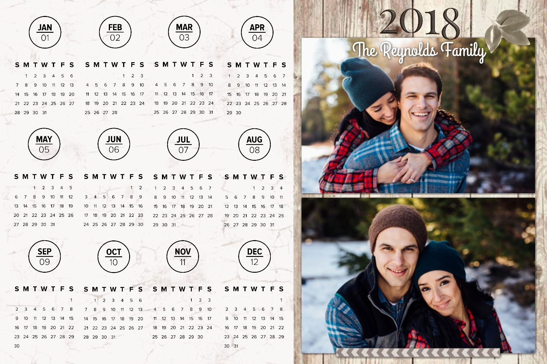 2018 Year at a Glance Calendar - Large Magnet