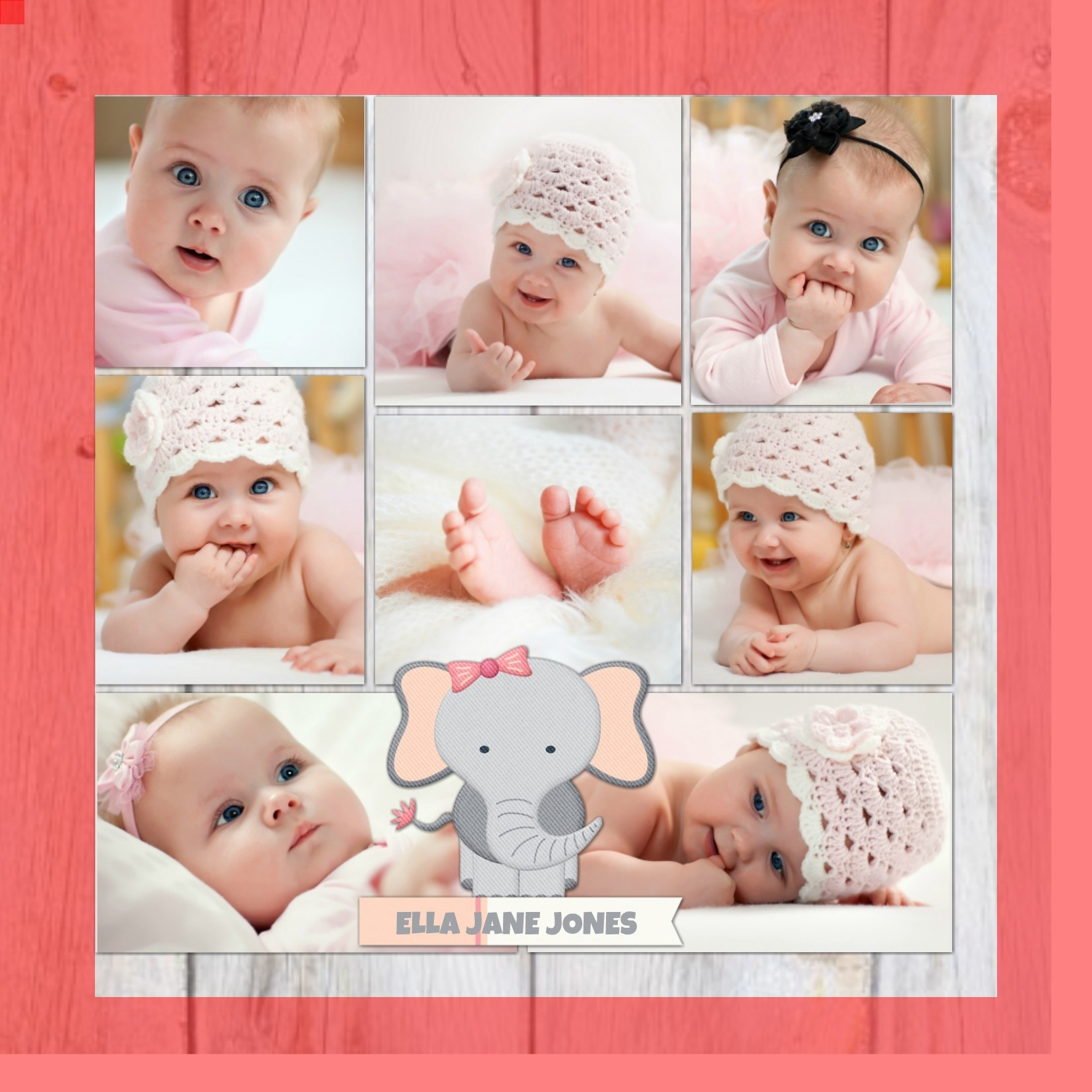 Baby Elephant Bliss Collage - Girl